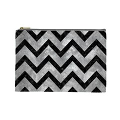 Chevron9 Black Marble & Gray Metal 2 (r) Cosmetic Bag (large)