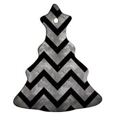 Chevron9 Black Marble & Gray Metal 2 (r) Ornament (christmas Tree)