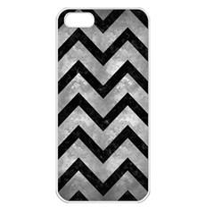 Chevron9 Black Marble & Gray Metal 2 (r) Apple Iphone 5 Seamless Case (white)