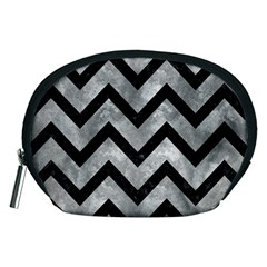 Chevron9 Black Marble & Gray Metal 2 (r) Accessory Pouches (medium)