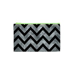 Chevron9 Black Marble & Gray Metal 2 (r) Cosmetic Bag (xs)