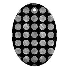 Circles1 Black Marble & Gray Metal 2 Ornament (oval)