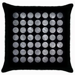 Circles1 Black Marble & Gray Metal 2 Throw Pillow Case (black)