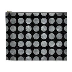 Circles1 Black Marble & Gray Metal 2 Cosmetic Bag (xl)