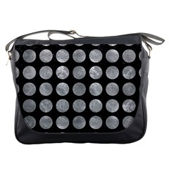 Circles1 Black Marble & Gray Metal 2 Messenger Bags