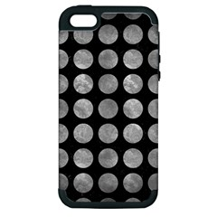 Circles1 Black Marble & Gray Metal 2 Apple Iphone 5 Hardshell Case (pc+silicone)