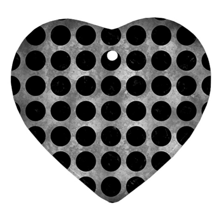 CIRCLES1 BLACK MARBLE & GRAY METAL 2 (R) Ornament (Heart)