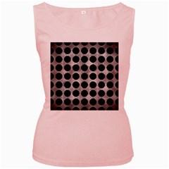 Circles1 Black Marble & Gray Metal 2 (r) Women s Pink Tank Top