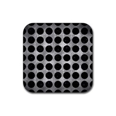 Circles1 Black Marble & Gray Metal 2 (r) Rubber Square Coaster (4 Pack)