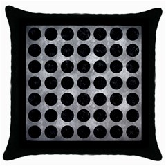 Circles1 Black Marble & Gray Metal 2 (r) Throw Pillow Case (black)