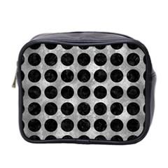 Circles1 Black Marble & Gray Metal 2 (r) Mini Toiletries Bag 2 Side