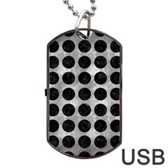 Circles1 Black Marble & Gray Metal 2 (r) Dog Tag Usb Flash (two Sides)