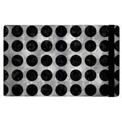 Circles1 Black Marble & Gray Metal 2 (r) Apple Ipad 3/4 Flip Case