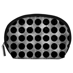 Circles1 Black Marble & Gray Metal 2 (r) Accessory Pouches (large)