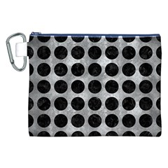 Circles1 Black Marble & Gray Metal 2 (r) Canvas Cosmetic Bag (xxl)
