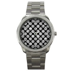 Circles2 Black Marble & Gray Metal 2 Sport Metal Watch