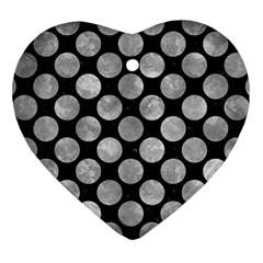 Circles2 Black Marble & Gray Metal 2 Heart Ornament (two Sides)