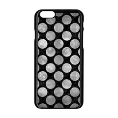 Circles2 Black Marble & Gray Metal 2 Apple Iphone 6/6s Black Enamel Case