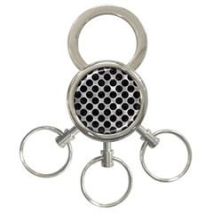 Circles2 Black Marble & Gray Metal 2 (r) 3 Ring Key Chains