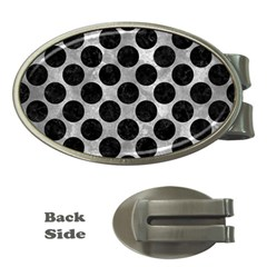 Circles2 Black Marble & Gray Metal 2 (r) Money Clips (oval)