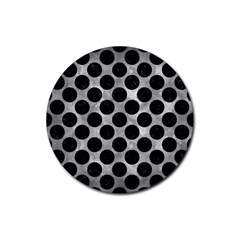 Circles2 Black Marble & Gray Metal 2 (r) Rubber Round Coaster (4 Pack)