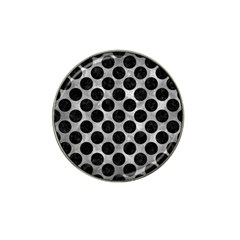 Circles2 Black Marble & Gray Metal 2 (r) Hat Clip Ball Marker (4 Pack)