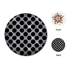 Circles2 Black Marble & Gray Metal 2 (r) Playing Cards (round)