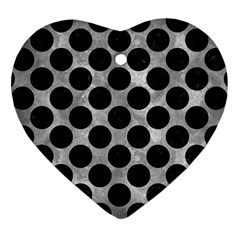 Circles2 Black Marble & Gray Metal 2 (r) Heart Ornament (two Sides)