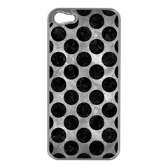 Circles2 Black Marble & Gray Metal 2 (r) Apple Iphone 5 Case (silver)