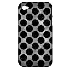 Circles2 Black Marble & Gray Metal 2 (r) Apple Iphone 4/4s Hardshell Case (pc+silicone)