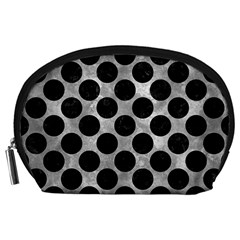 Circles2 Black Marble & Gray Metal 2 (r) Accessory Pouches (large)