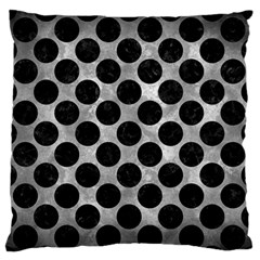 Circles2 Black Marble & Gray Metal 2 (r) Large Flano Cushion Case (two Sides)