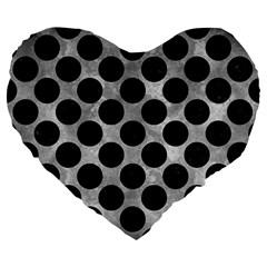 Circles2 Black Marble & Gray Metal 2 (r) Large 19  Premium Flano Heart Shape Cushions
