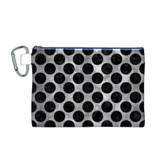 Circles2 Black Marble & Gray Metal 2 (r) Canvas Cosmetic Bag (m)