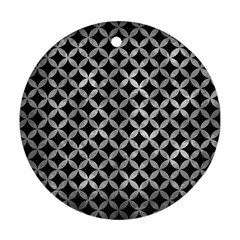 Circles3 Black Marble & Gray Metal 2 Ornament (round)