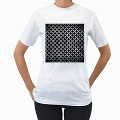 Circles3 Black Marble & Gray Metal 2 Women s T Shirt (white) (two Sided)