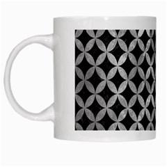 Circles3 Black Marble & Gray Metal 2 White Mugs
