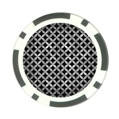 Circles3 Black Marble & Gray Metal 2 Poker Chip Card Guard
