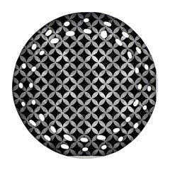Circles3 Black Marble & Gray Metal 2 Round Filigree Ornament (two Sides)