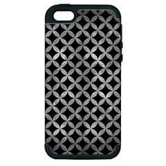 Circles3 Black Marble & Gray Metal 2 Apple Iphone 5 Hardshell Case (pc+silicone)