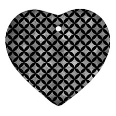 Circles3 Black Marble & Gray Metal 2 (r) Heart Ornament (two Sides)