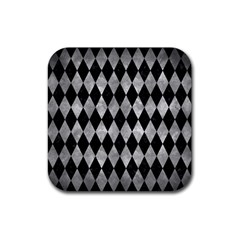 Diamond1 Black Marble & Gray Metal 2 Rubber Square Coaster (4 Pack)