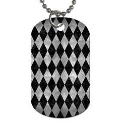 Diamond1 Black Marble & Gray Metal 2 Dog Tag (two Sides)