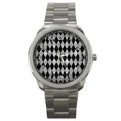 Diamond1 Black Marble & Gray Metal 2 Sport Metal Watch