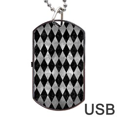 Diamond1 Black Marble & Gray Metal 2 Dog Tag Usb Flash (two Sides)