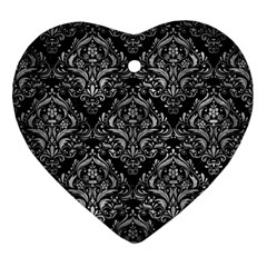 Damask1 Black Marble & Gray Metal 2 Ornament (heart)