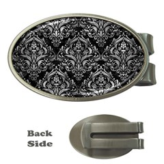 Damask1 Black Marble & Gray Metal 2 Money Clips (oval)