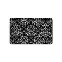 Damask1 Black Marble & Gray Metal 2 Magnet (name Card)