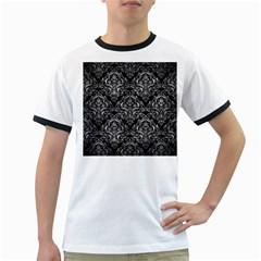 Damask1 Black Marble & Gray Metal 2 Ringer T Shirts