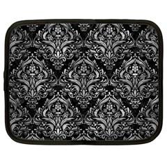Damask1 Black Marble & Gray Metal 2 Netbook Case (large)
